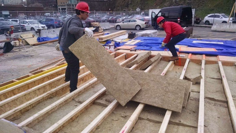 Floor Insulation: Due to the flood-proof sheathing installed beneath our floor, we had to insulate the floor cavity much earlier than would be the case in a typical home where one would still have access to the floor cavity.